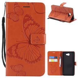 Embossing 3D Butterfly Leather Wallet Case for Samsung Galaxy J7 Prime G610 - Orange