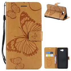 Embossing 3D Butterfly Leather Wallet Case for Samsung Galaxy J7 Prime G610 - Yellow