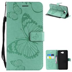 Embossing 3D Butterfly Leather Wallet Case for Samsung Galaxy J7 Prime G610 - Green