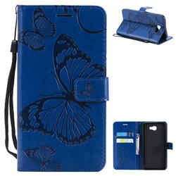 Embossing 3D Butterfly Leather Wallet Case for Samsung Galaxy J7 Prime G610 - Blue