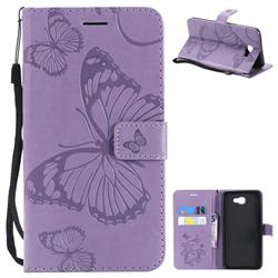 Embossing 3D Butterfly Leather Wallet Case for Samsung Galaxy J7 Prime G610 - Purple