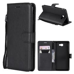 Retro Greek Classic Smooth PU Leather Wallet Phone Case for Samsung Galaxy J7 Prime G610 - Black