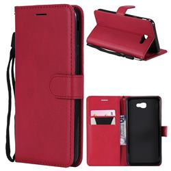 Retro Greek Classic Smooth PU Leather Wallet Phone Case for Samsung Galaxy J7 Prime G610 - Red
