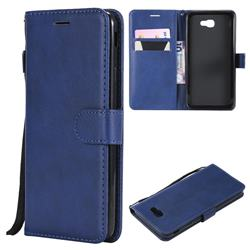 Retro Greek Classic Smooth PU Leather Wallet Phone Case for Samsung Galaxy J7 Prime G610 - Blue