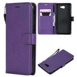 Retro Greek Classic Smooth PU Leather Wallet Phone Case for Samsung Galaxy J7 Prime G610 - Purple
