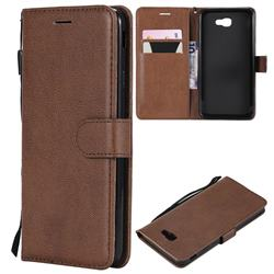Retro Greek Classic Smooth PU Leather Wallet Phone Case for Samsung Galaxy J7 Prime G610 - Brown