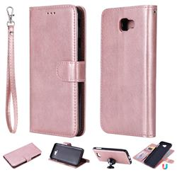 Retro Greek Detachable Magnetic PU Leather Wallet Phone Case for Samsung Galaxy J7 Prime G610 - Rose Gold