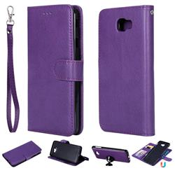 Retro Greek Detachable Magnetic PU Leather Wallet Phone Case for Samsung Galaxy J7 Prime G610 - Purple