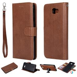 Retro Greek Detachable Magnetic PU Leather Wallet Phone Case for Samsung Galaxy J7 Prime G610 - Brown