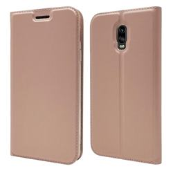 Ultra Slim Card Magnetic Automatic Suction Leather Wallet Case for Samsung Galaxy J7 Prime G610 - Rose Gold