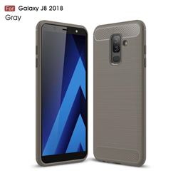 Luxury Carbon Fiber Brushed Wire Drawing Silicone TPU Back Cover for Samsung Galaxy J8 - Gray