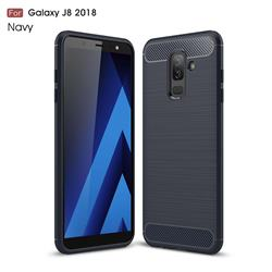 Luxury Carbon Fiber Brushed Wire Drawing Silicone TPU Back Cover for Samsung Galaxy J8 - Navy