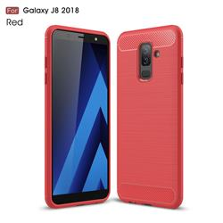 Luxury Carbon Fiber Brushed Wire Drawing Silicone TPU Back Cover for Samsung Galaxy J8 - Red