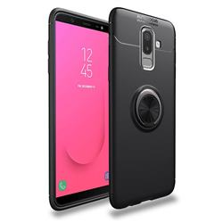 Auto Focus Invisible Ring Holder Soft Phone Case for Samsung Galaxy J8 - Black