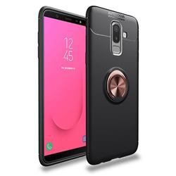 Auto Focus Invisible Ring Holder Soft Phone Case for Samsung Galaxy J8 - Black Gold