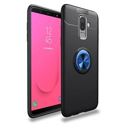 Auto Focus Invisible Ring Holder Soft Phone Case for Samsung Galaxy J8 - Black Blue