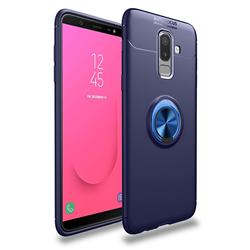 Auto Focus Invisible Ring Holder Soft Phone Case for Samsung Galaxy J8 - Blue