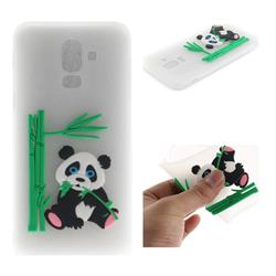 Panda Eating Bamboo Soft 3D Silicone Case for Samsung Galaxy J8 - Translucent