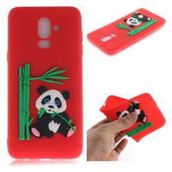 Panda Eating Bamboo Soft 3D Silicone Case for Samsung Galaxy J8 - Red