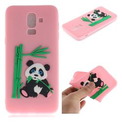 Panda Eating Bamboo Soft 3D Silicone Case for Samsung Galaxy J8 - Pink