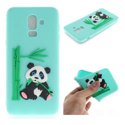 Panda Eating Bamboo Soft 3D Silicone Case for Samsung Galaxy J8 - Green
