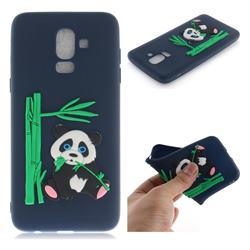 Panda Eating Bamboo Soft 3D Silicone Case for Samsung Galaxy J8 - Dark Blue