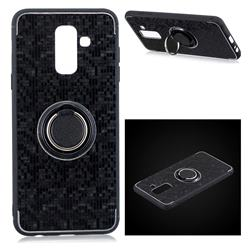 Luxury Mosaic Metal Silicone Invisible Ring Holder Soft Phone Case for Samsung Galaxy J8 - Black