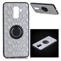 Luxury Mosaic Metal Silicone Invisible Ring Holder Soft Phone Case for Samsung Galaxy J8 - Titanium Silver