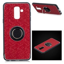 Luxury Mosaic Metal Silicone Invisible Ring Holder Soft Phone Case for Samsung Galaxy J8 - Red