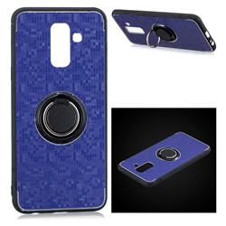 Luxury Mosaic Metal Silicone Invisible Ring Holder Soft Phone Case for Samsung Galaxy J8 - Blue