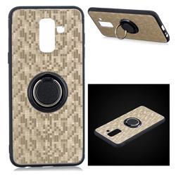 Luxury Mosaic Metal Silicone Invisible Ring Holder Soft Phone Case for Samsung Galaxy J8 - Titanium Gold