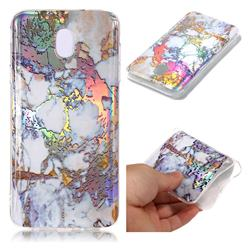 Gold Plating Marble Pattern Bright Color Laser Soft TPU Case for Samsung Galaxy J8