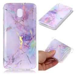 Pink Purple Marble Pattern Bright Color Laser Soft TPU Case for Samsung Galaxy J8
