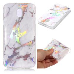 White Marble Pattern Bright Color Laser Soft TPU Case for Samsung Galaxy J8