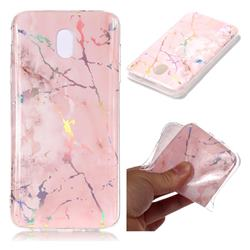 Powder Pink Marble Pattern Bright Color Laser Soft TPU Case for Samsung Galaxy J8