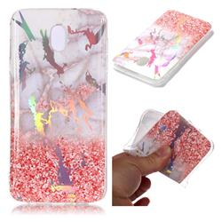 Powder Sandstone Marble Pattern Bright Color Laser Soft TPU Case for Samsung Galaxy J8