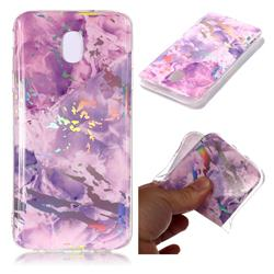 Purple Marble Pattern Bright Color Laser Soft TPU Case for Samsung Galaxy J8