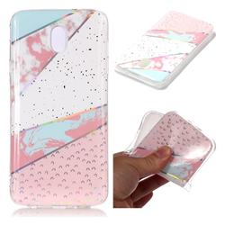 Matching Color Marble Pattern Bright Color Laser Soft TPU Case for Samsung Galaxy J8