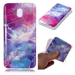 Dream Sky Marble Pattern Bright Color Laser Soft TPU Case for Samsung Galaxy J8