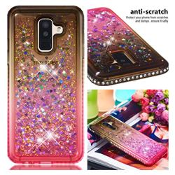 Diamond Frame Liquid Glitter Quicksand Sequins Phone Case for Samsung Galaxy J8 - Gray Pink