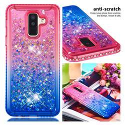 Diamond Frame Liquid Glitter Quicksand Sequins Phone Case for Samsung Galaxy J8 - Pink Blue