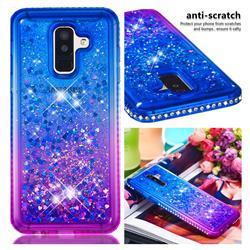 Diamond Frame Liquid Glitter Quicksand Sequins Phone Case for Samsung Galaxy J8 - Blue Purple
