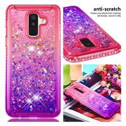 Diamond Frame Liquid Glitter Quicksand Sequins Phone Case for Samsung Galaxy J8 - Pink Purple