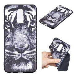 White Tiger 3D Embossed Relief Black TPU Cell Phone Back Cover for Samsung Galaxy J8