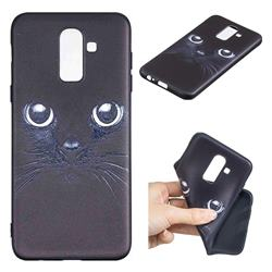 Bearded Feline 3D Embossed Relief Black TPU Cell Phone Back Cover for Samsung Galaxy J8