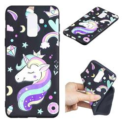 Candy Unicorn 3D Embossed Relief Black TPU Cell Phone Back Cover for Samsung Galaxy J8