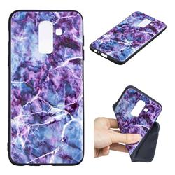 Marble 3D Embossed Relief Black TPU Cell Phone Back Cover for Samsung Galaxy J8
