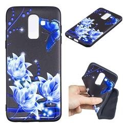 Blue Butterfly 3D Embossed Relief Black TPU Cell Phone Back Cover for Samsung Galaxy J8