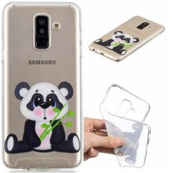 Bamboo Panda Clear Varnish Soft Phone Back Cover for Samsung Galaxy J8