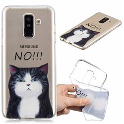 Cat Say No Clear Varnish Soft Phone Back Cover for Samsung Galaxy J8